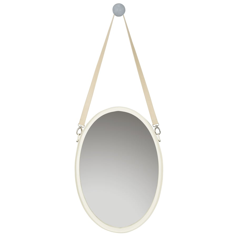 Safavieh 16-in x 40-in Ivory Polished Oval Framed Contemporary Wall Mirror