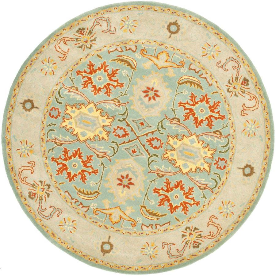 Safavieh Heritage Peshwar Light Blue/Ivory Round Indoor Handcrafted Oriental Area Rug (Common: 9 x 9; Actual: 9-ft W x 9-ft L x 9-ft Dia)