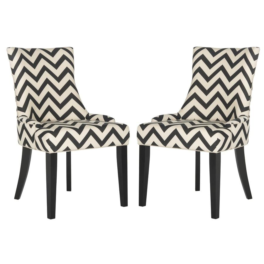 Safavieh Set of 2 Mercer Black/White Zig Zag Side Chairs