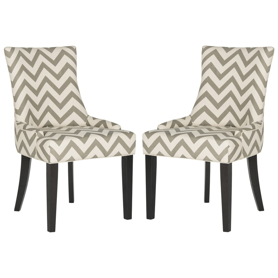 Safavieh Set of 2 Lester Gray/White Zig Zag Side Chair