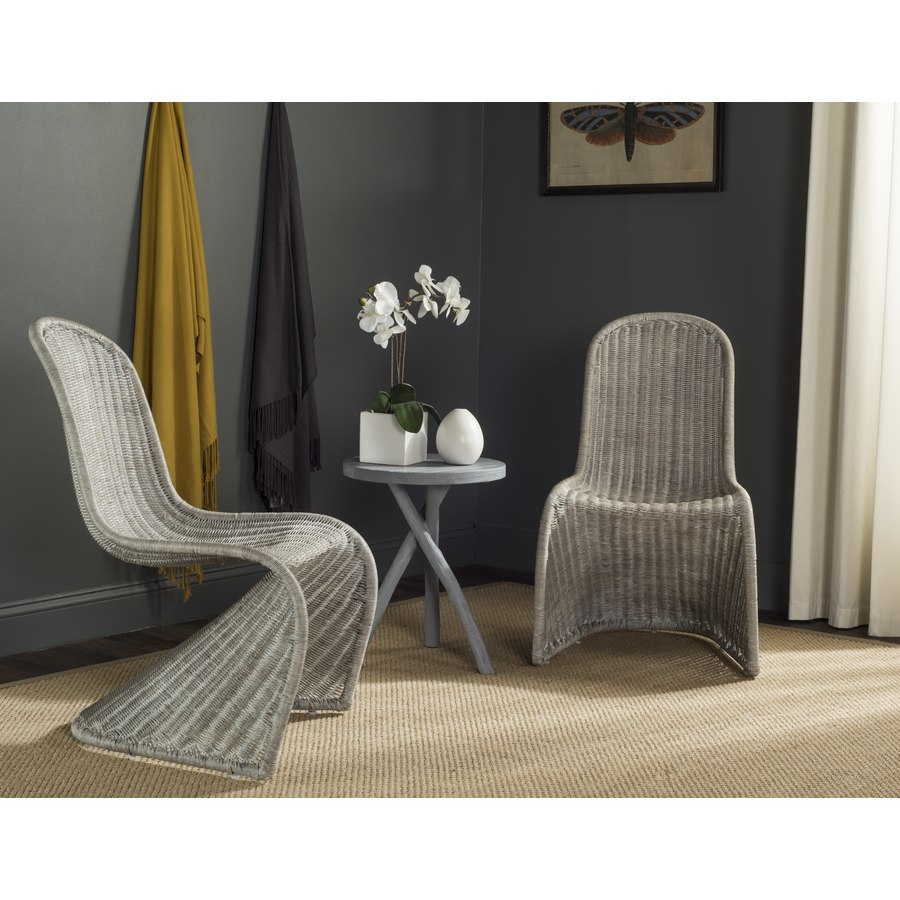 Safavieh Set of 2 Tana Coastal Antique Gray Accent Chairs
