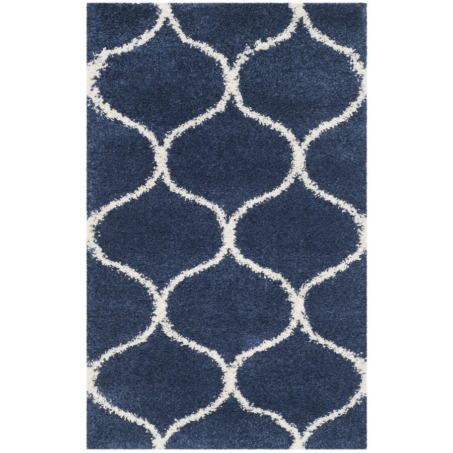 Safavieh Hudson Shag Navy/Ivory Rectangular Indoor Machine-Made Moroccan Throw Rug (Common: 3 x 5; Actual: 3-ft W x 5-ft L)