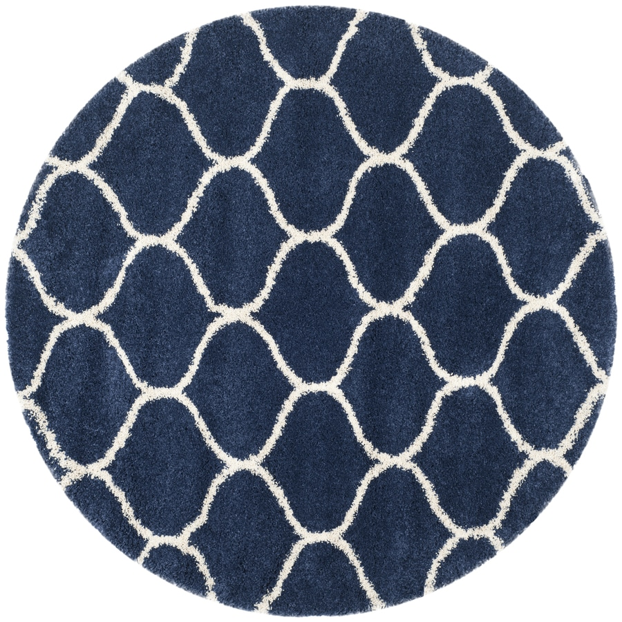 Safavieh Hudson Hathaway Shag Navy/Ivory Round Indoor Machine-made Moroccan Area Rug (Common: 7 x 7; Actual: 7-ft W x 7-ft L x 7-ft Dia)