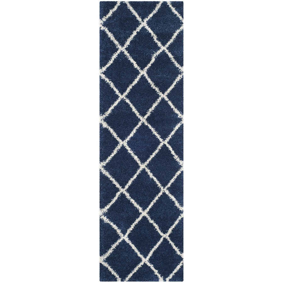 Safavieh Hudson Beckham Shag Navy/Ivory Indoor Moroccan Runner (Common: 2 x 8; Actual: 2.25-ft W x 8-ft L)