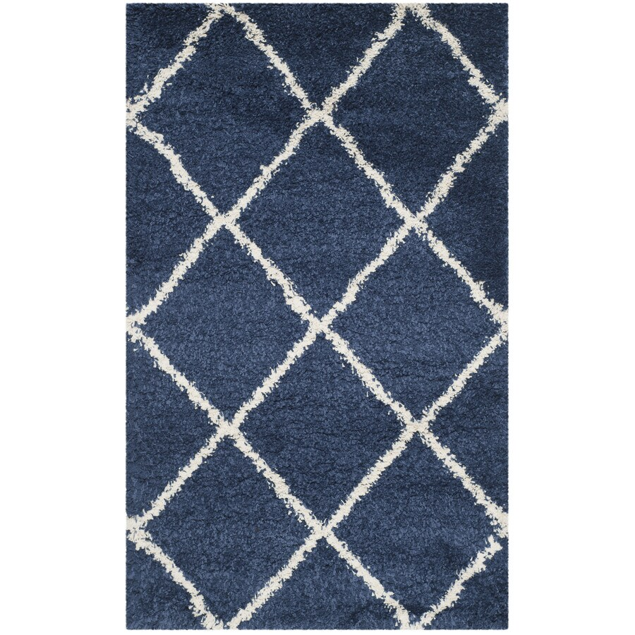 Safavieh Hudson Beckham Shag Navy/Ivory Indoor Moroccan Throw Rug (Common: 3 x 5; Actual: 3-ft W x 5-ft L)