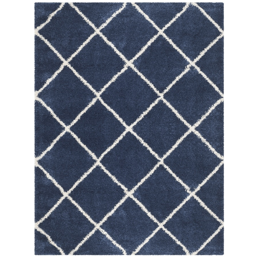 Safavieh Hudson Beckham Shag Navy/Ivory Rectangular Indoor Machine-made Moroccan Area Rug (Common: 9 x 12; Actual: 9-ft W x 12-ft L)