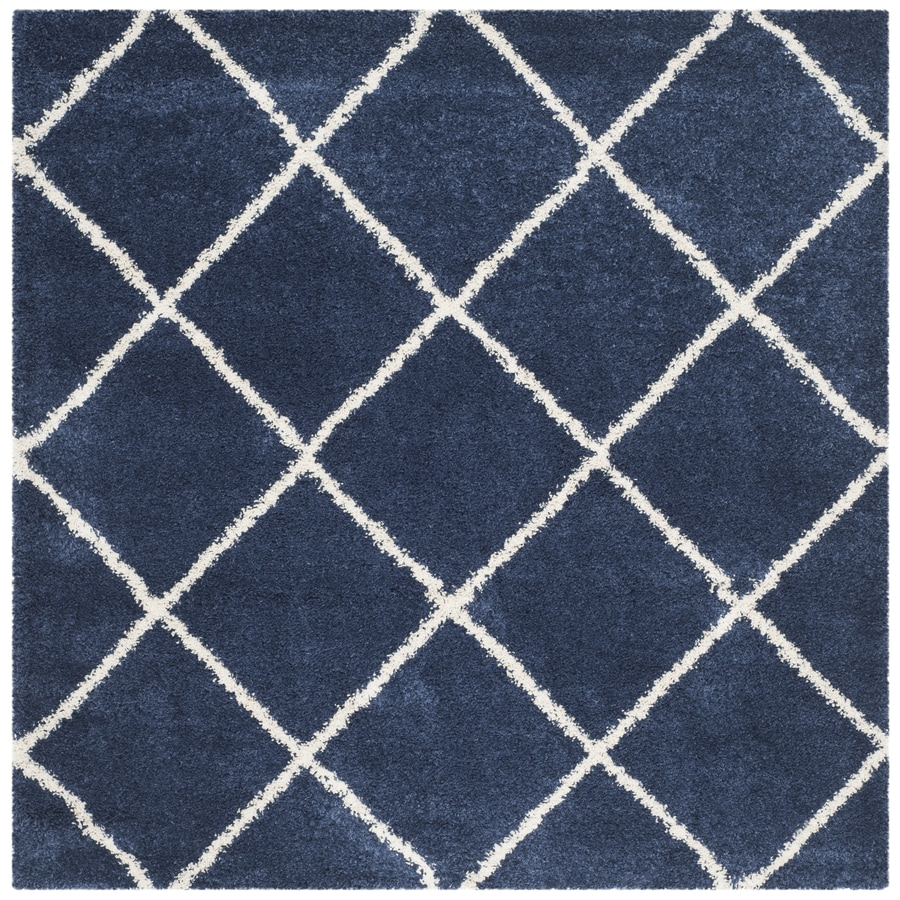 Safavieh Hudson Beckham Shag Navy/Ivory Square Indoor Moroccan Area Rug (Common: 7 x 7; Actual: 7-ft W x 7-ft L)