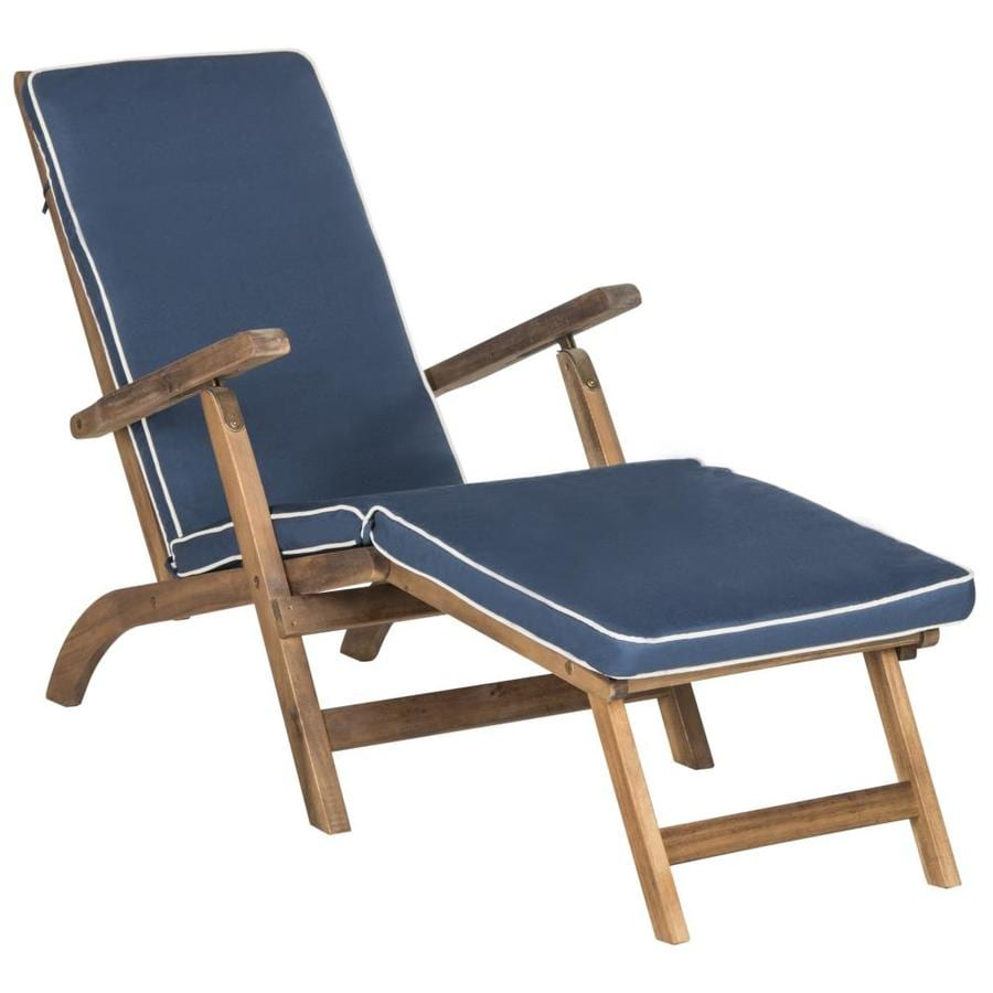 Safavieh Palmdale Acacia Chaise Lounge Chair with Navy ... on Safavieh Chaise Lounge id=30023