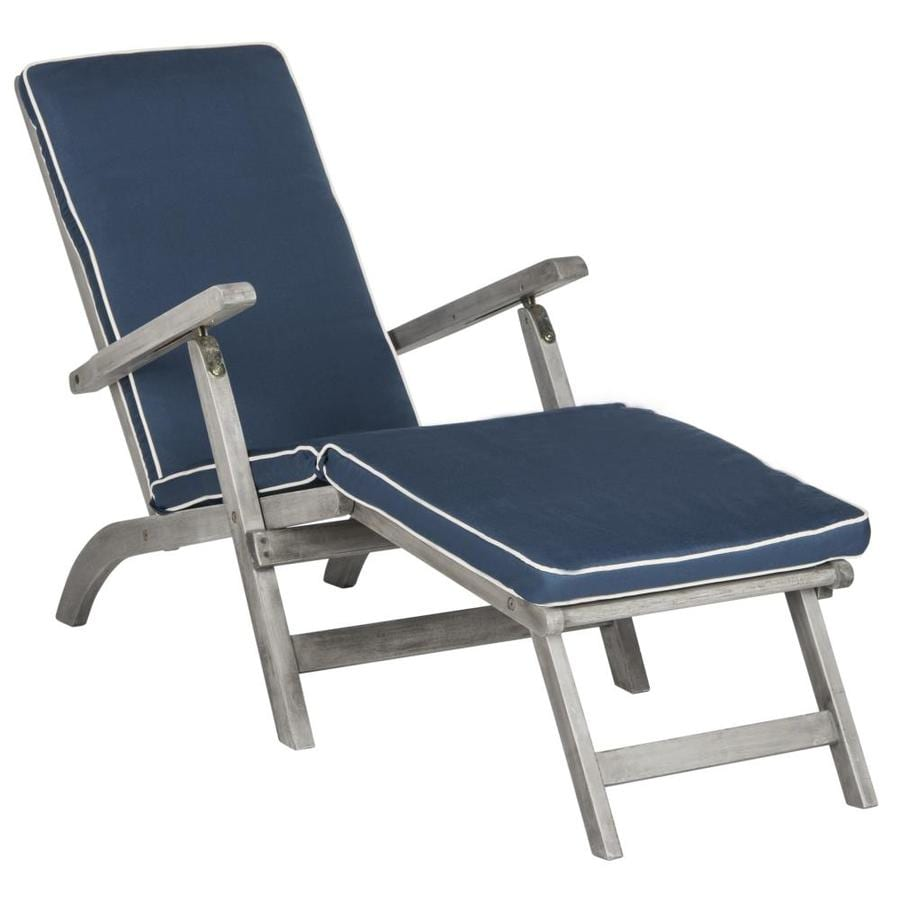 Safavieh Palmdale Acacia Chaise Lounge Chair with Navy ... on Safavieh Chaise Lounge id=62213