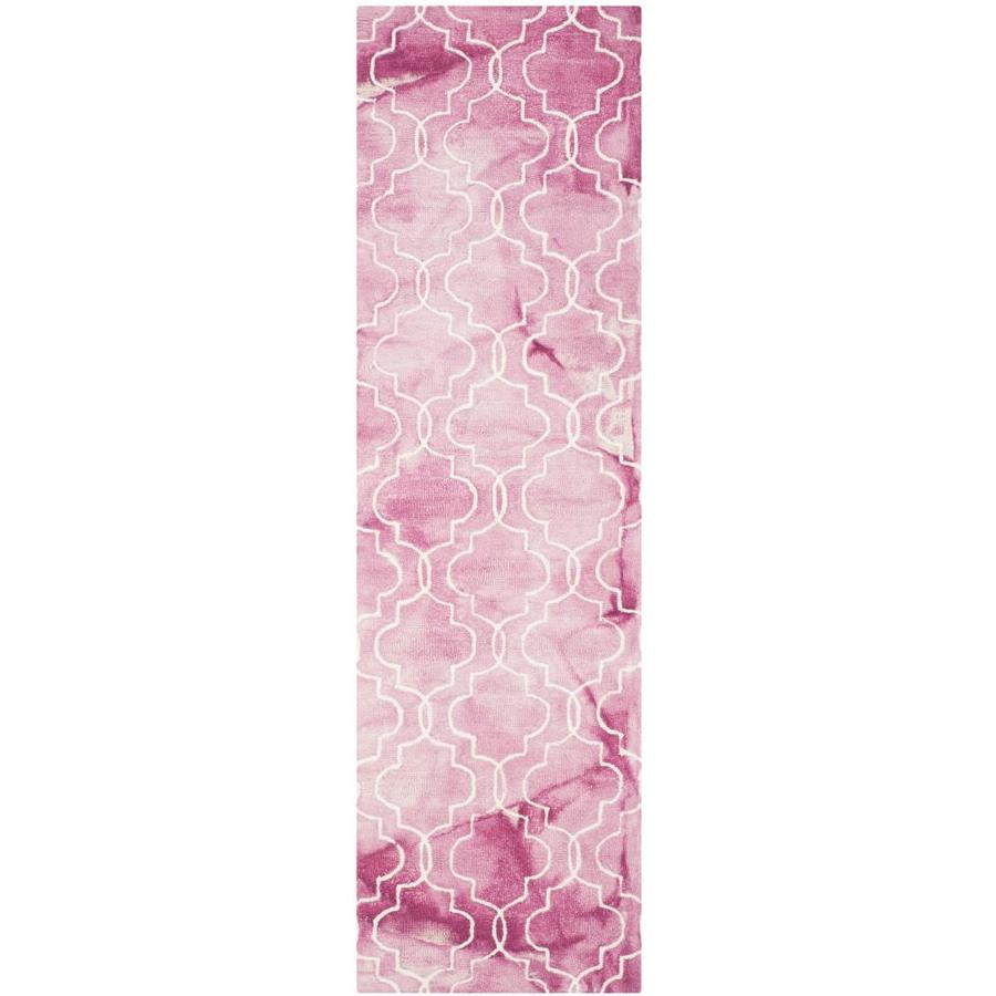 Safavieh Dip Dye Ashbury Rose/Ivory Rectangular Indoor Handcrafted Distressed Runner (Common: 2 x 8; Actual: 2.25-ft W x 8-ft L)