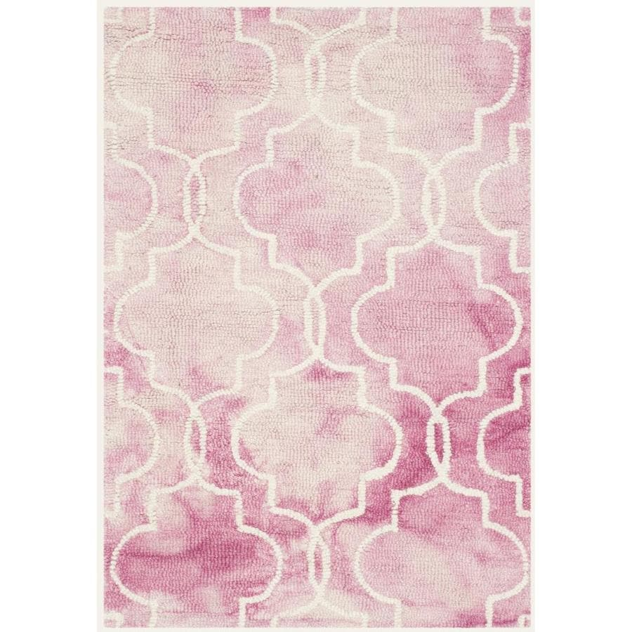 Safavieh Dip Dye Rose and Ivory Rectangular Indoor Tufted Throw Rug (Common: 3 x 5; Actual: 36-in W x 60-in L x 0.5-ft Dia)