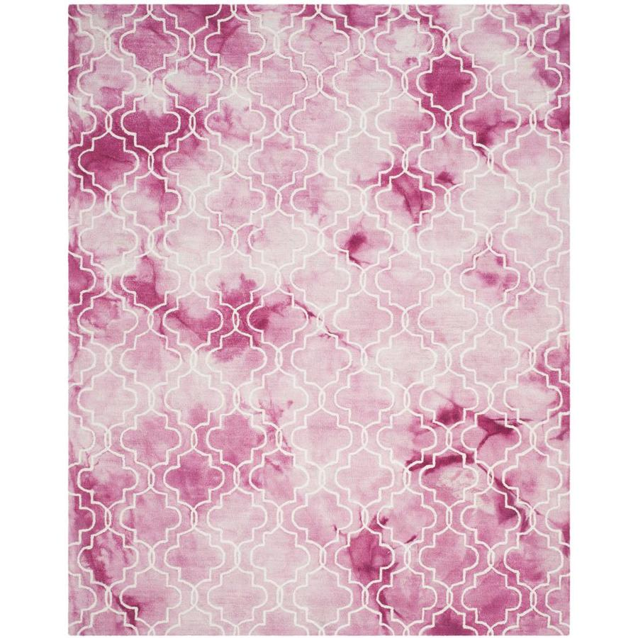 Safavieh Dip Dye Ashbury Rose/Ivory Indoor Handcrafted Distressed Area Rug (Common: 8 x 10; Actual: 8-ft W x 10-ft L)
