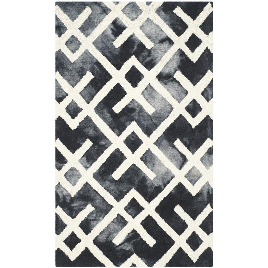 Safavieh Dip Dye Freemont Graphite/Ivory Indoor Handcrafted Distressed Throw Rug (Common: 2 x 3; Actual: 2-ft W x 3-ft L)
