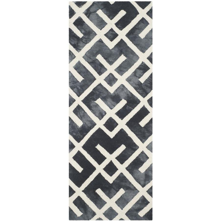 Safavieh Dip Dye Graphite/Ivory Rectangular Indoor Handcrafted Distressed Runner (Common: 2.3 x 6; Actual: 2.25-ft W x 6-ft L)