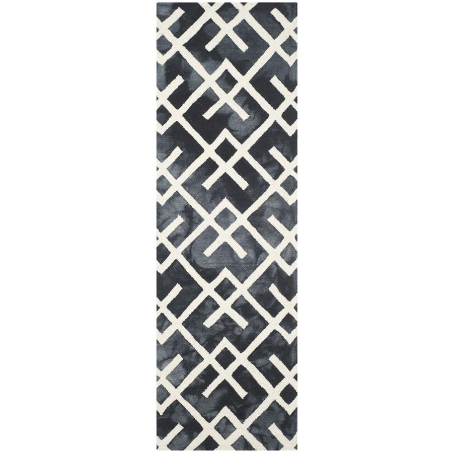 Safavieh Dip Dye Freemont Graphite/Ivory Indoor Handcrafted Distressed Runner (Common: 2 x 8; Actual: 2.25-ft W x 8-ft L)