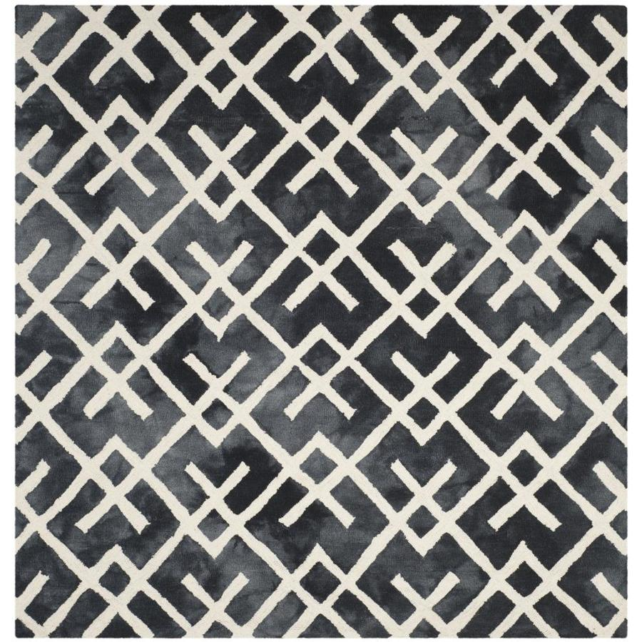 Safavieh Dip Dye Graphite/Ivory Square Indoor Handcrafted Distressed Area Rug (Common: 7 x 7; Actual: 7-ft W x 7-ft L)