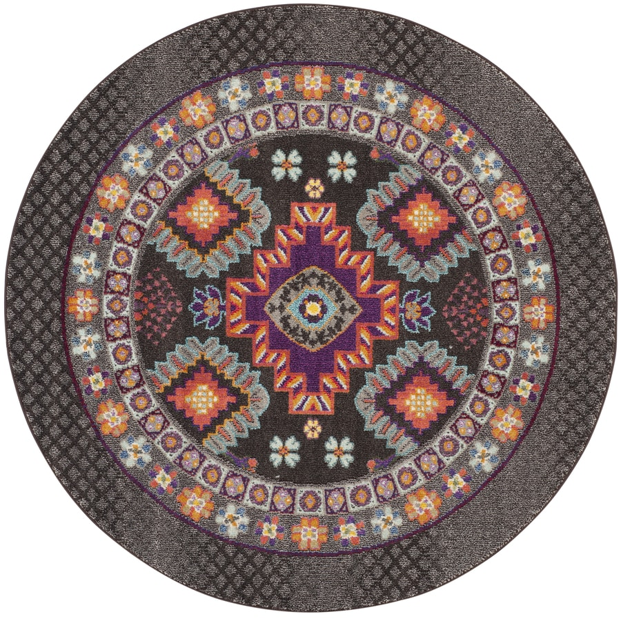 Safavieh Monaco Reyes Brown Round Indoor Nature Area Rug (Common: 7 x 7; Actual: 6.7-ft W x 6.6-ft L x 6.6-ft dia)