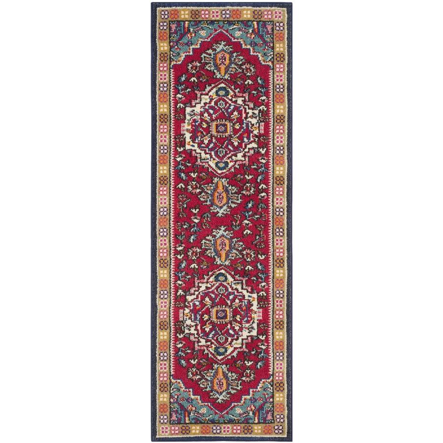 Safavieh Monaco Heritage Red/Turquoise Indoor Oriental Runner (Common: 2 x 10; Actual: 2.2-ft W x 10-ft L)
