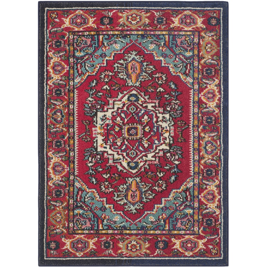 Safavieh Monaco Red/Turquoise Rectangular Indoor Machine-Made Throw Rug (Common: 3 x 5; Actual: 3-ft W x 5-ft L)
