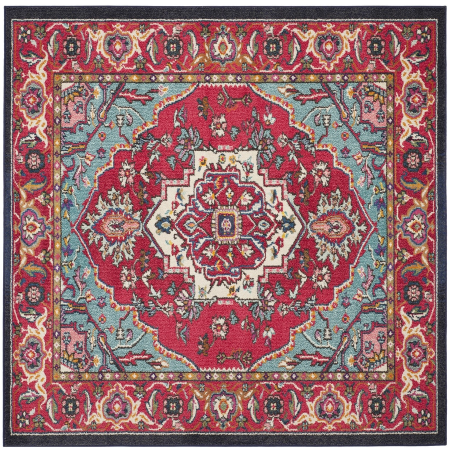 Safavieh Monaco Heritage Red/Turquoise Square Indoor Oriental Area Rug (Common: 7 x 7; Actual: 6.7-ft W x 6.6-ft L)
