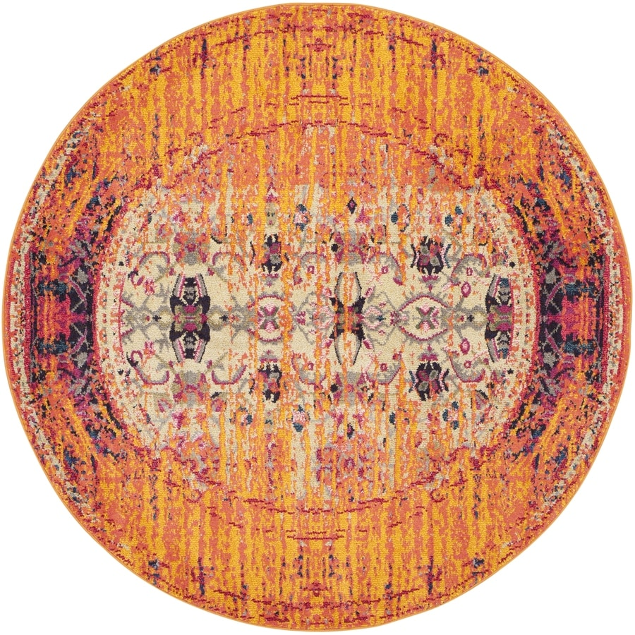Safavieh Monaco Orange/Multi Round Indoor Machine-Made Area Rug (Common: 6 x 6; Actual: 6.583-ft W x 6.583-ft L x 6.583-ft Dia)