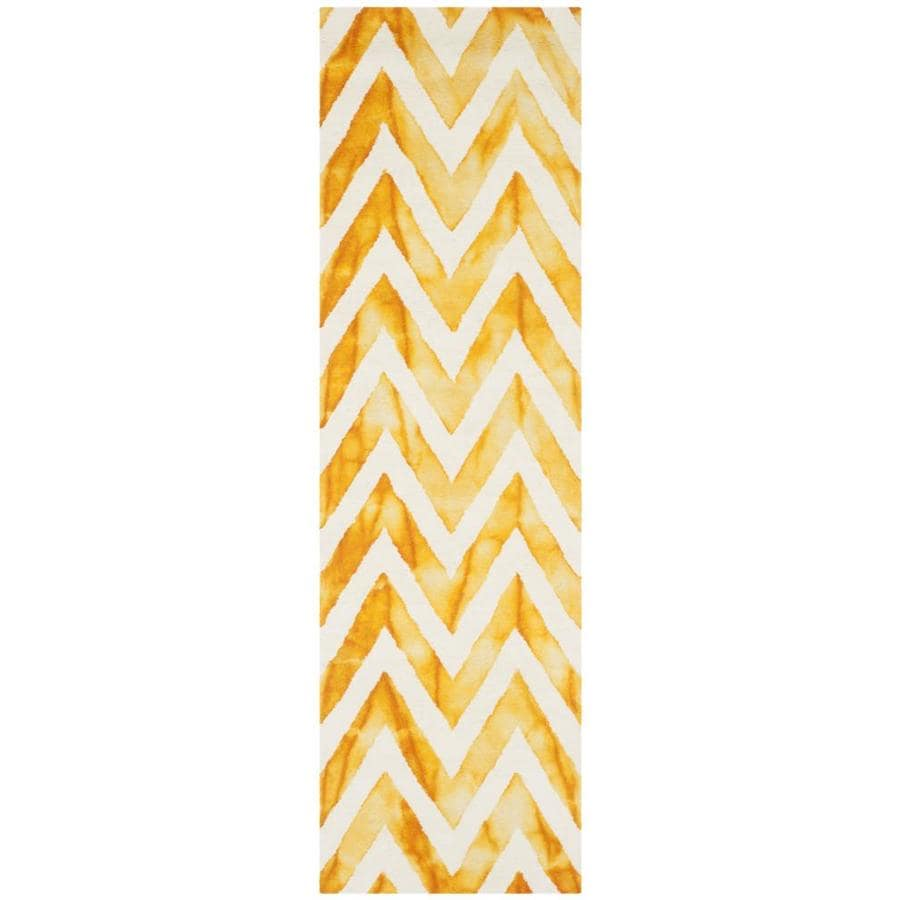Safavieh Dip Dye Ivory/Gold Rectangular Indoor Tufted Distressed Runner (Common: 2 x 10; Actual: 2.25-ft W x 10-ft L)