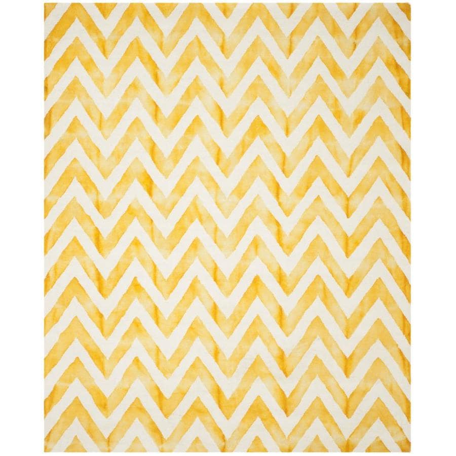Safavieh Dip Dye Ivory/Gold Rectangular Indoor Handcrafted Distressed Area Rug (Common: 6 x 9; Actual: 6-ft W x 9-ft L)