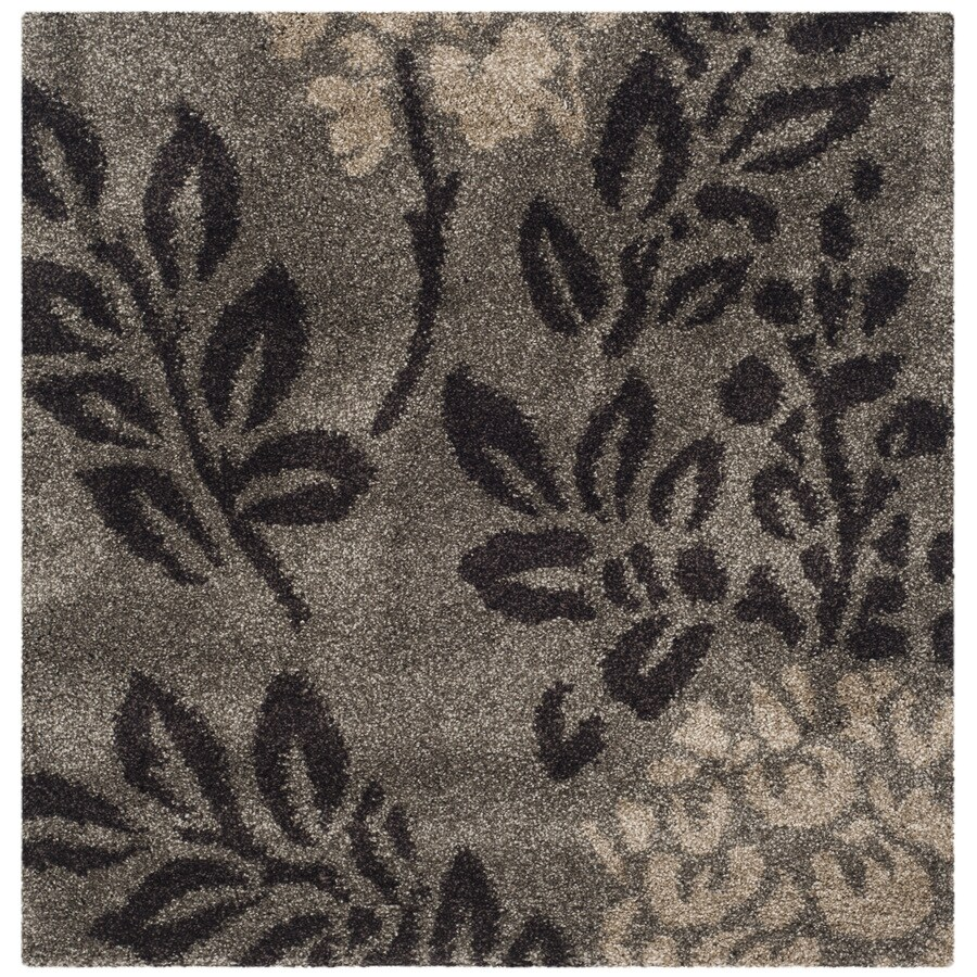 Safavieh Azalea Shag Smoke/Dark Brown Square Indoor Tropical Area Rug (Common: 4 x 4; Actual: 4-ft W x 4-ft L)