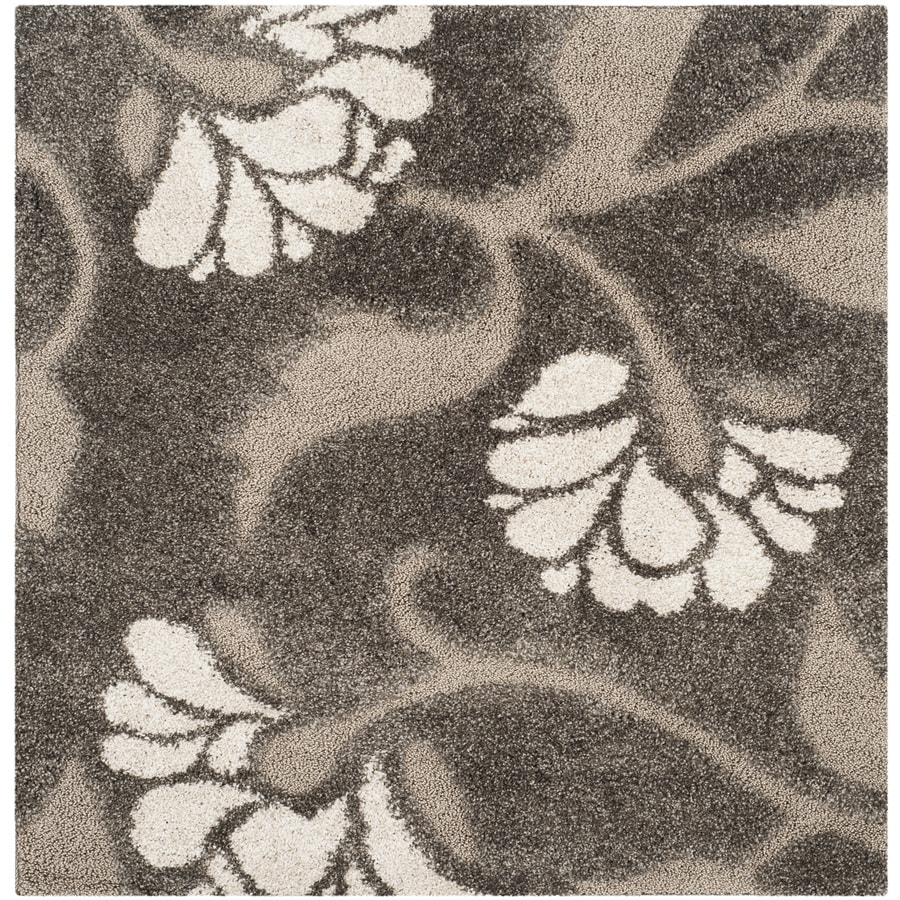 Safavieh Florida Shag Smoke/Beige Square Indoor Machine-Made Tropical Area Rug (Common: 3.6 x 3.6; Actual: 4-ft W x 4-ft L)
