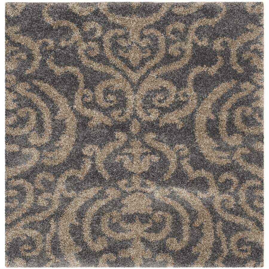 Safavieh Rania Shag Gray/Beige Square Indoor Machine-made Tropical Area Rug (Common: 4 x 4; Actual: 4-ft W x 4-ft L)