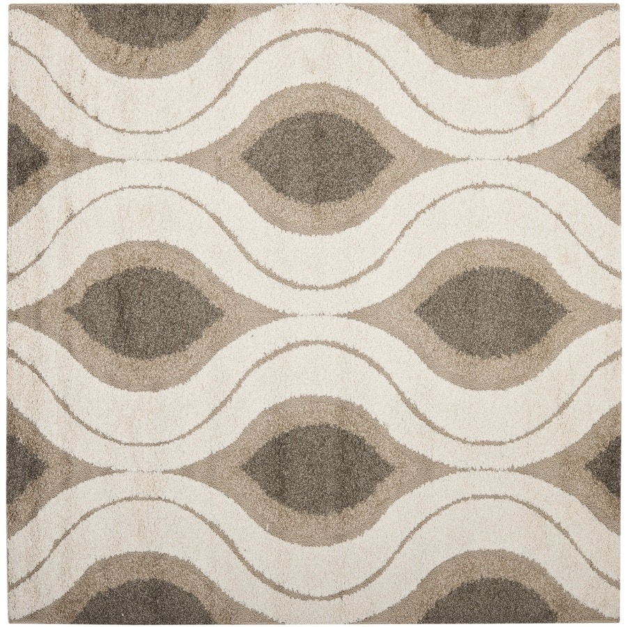 Safavieh Arcell Shag Cream/Smoke Square Indoor Machine-made Tropical Area Rug (Common: 4 x 4; Actual: 4-ft W x 4-ft L)