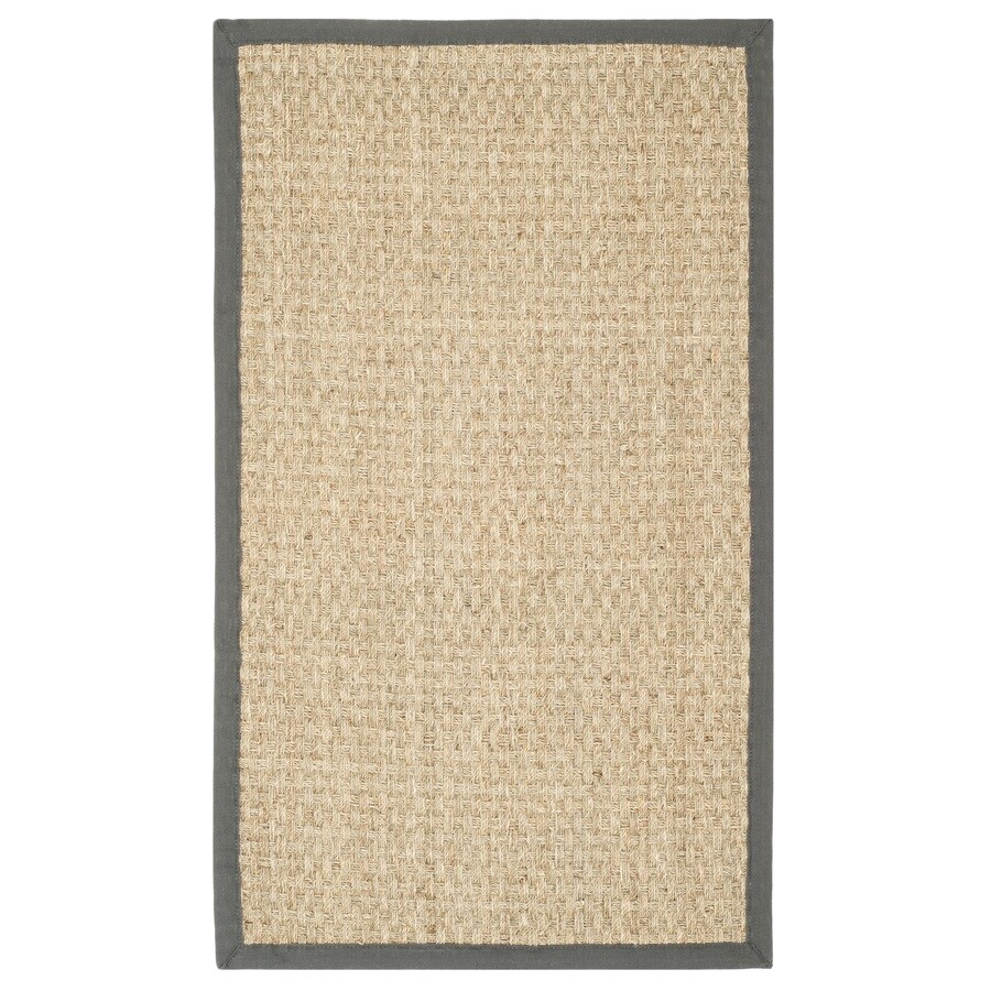 Safavieh Natural Fiber Hampton Natural/Dark Gray Indoor Coastal Throw Rug (Common: 3 x 5; Actual: 3-ft W x 5-ft L)