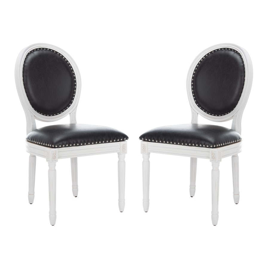 Safavieh Set of 2 Fox Black Pu Side Chairs