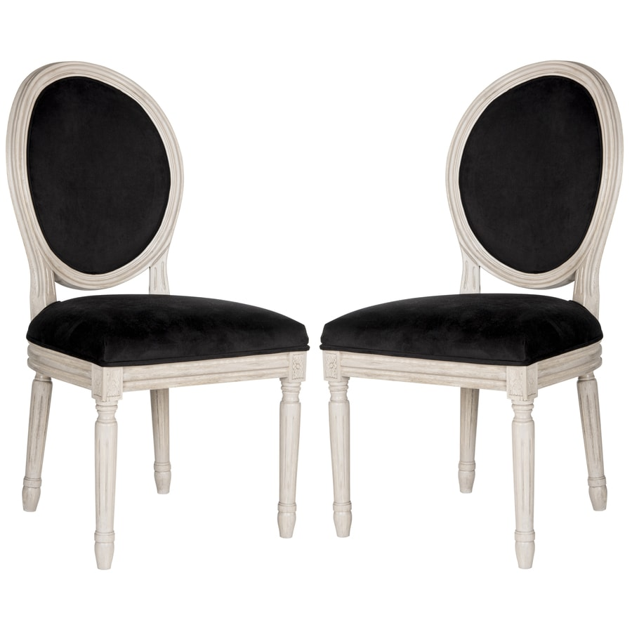 Safavieh Set of 2 Fox Black Velvet Side Chairs