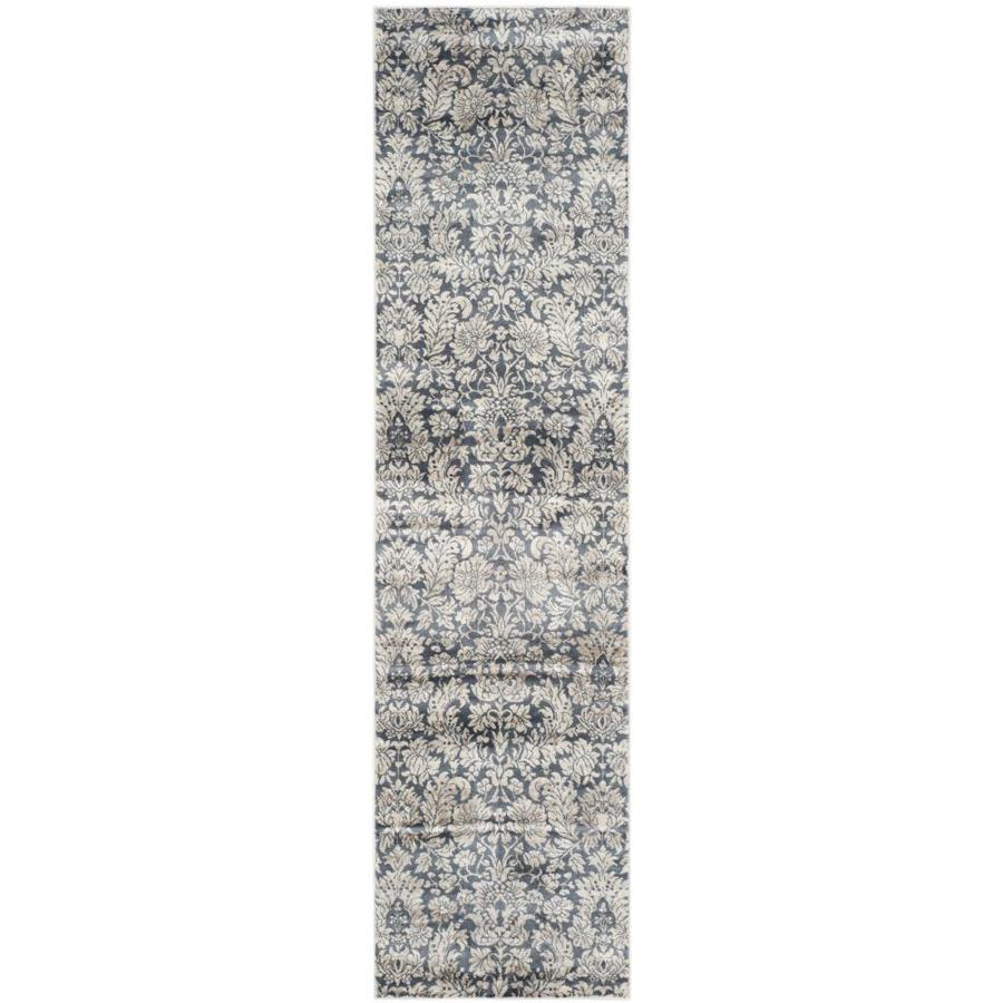 Safavieh Vintage Navy/Creme Rectangular Indoor Machine-Made Distressed Runner (Common: 2 x 8; Actual: 2.17-ft W x 8-ft L)