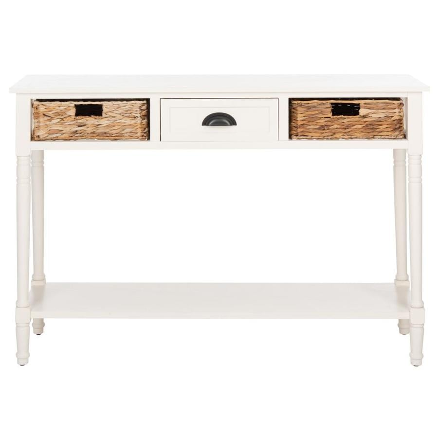 Safavieh Christa Distressed White Wood Coastal Console Table