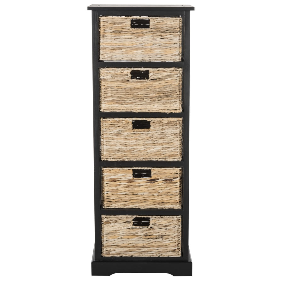 Safavieh 17.3-in x 46.1-in 5-Drawer Distressed Black Wood Drawer