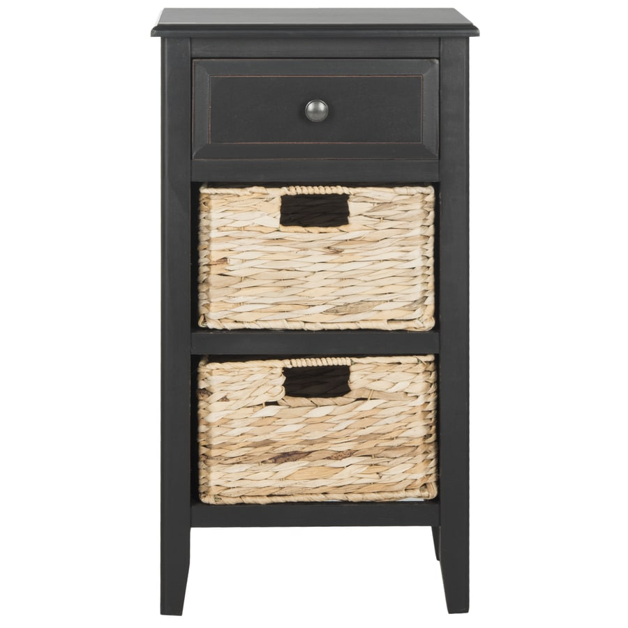 Safavieh Everly Distressed Black Wood Coastal End Table