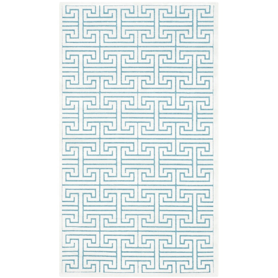 Safavieh Paradise Ainsley Ivory/Turquoise Rectangular Indoor Machine-made Distressed Throw Rug (Common: 3 x 5; Actual: 3-ft W x 5-ft L)