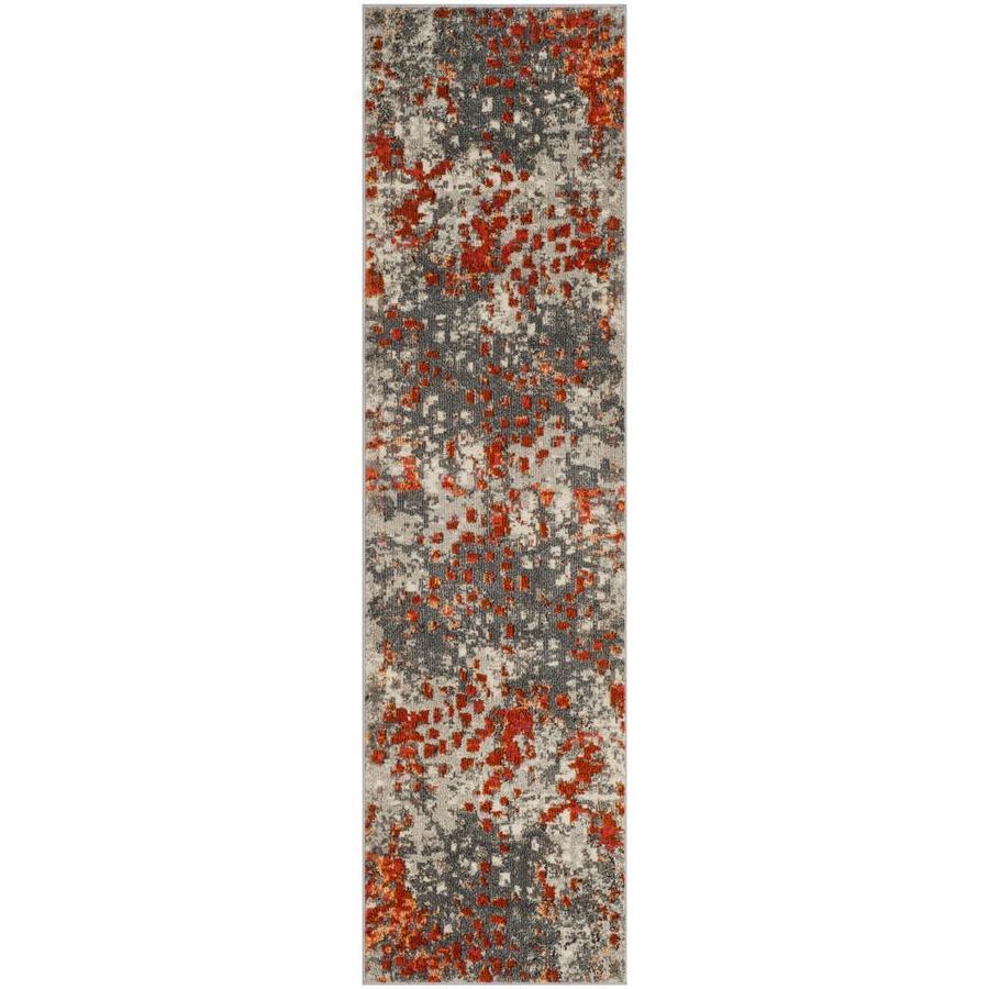Safavieh Monaco Gogh Gray/Orange Indoor Runner (Common: 2 x 10; Actual: 2.2-ft W x 10-ft L)
