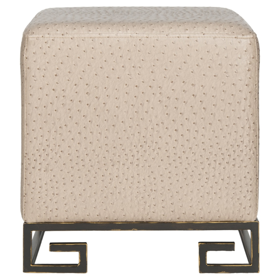 Safavieh Matthias Modern Taupe/Gold Faux Leather Ottoman