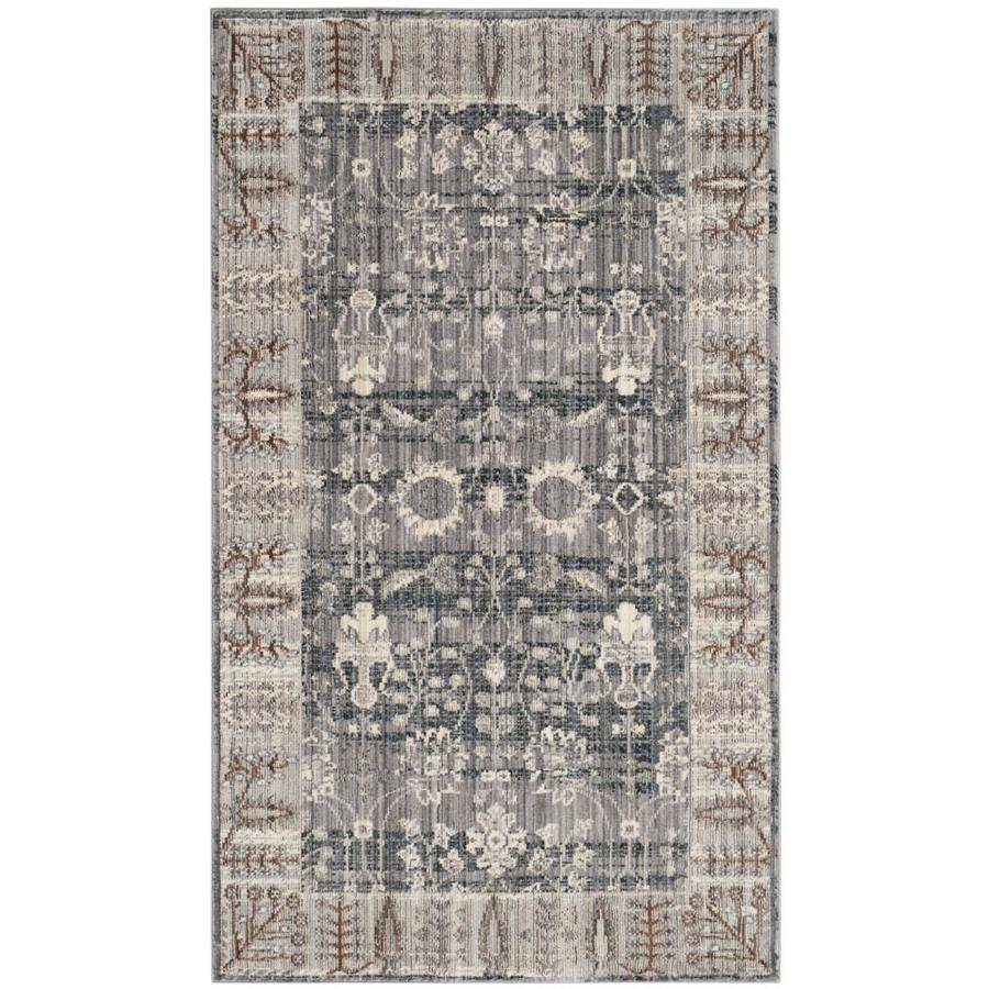 Safavieh Valencia Dark Gray/Light Gray Rectangular Indoor Machine-Made Distressed Area Rug (Common: 4 x 6; Actual: 4-ft W x 6-ft L)