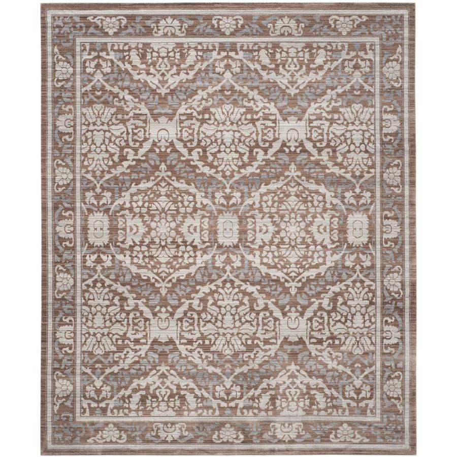 Shop safavieh valencia adena gray brown rectangular indoor for Grey and tan rug