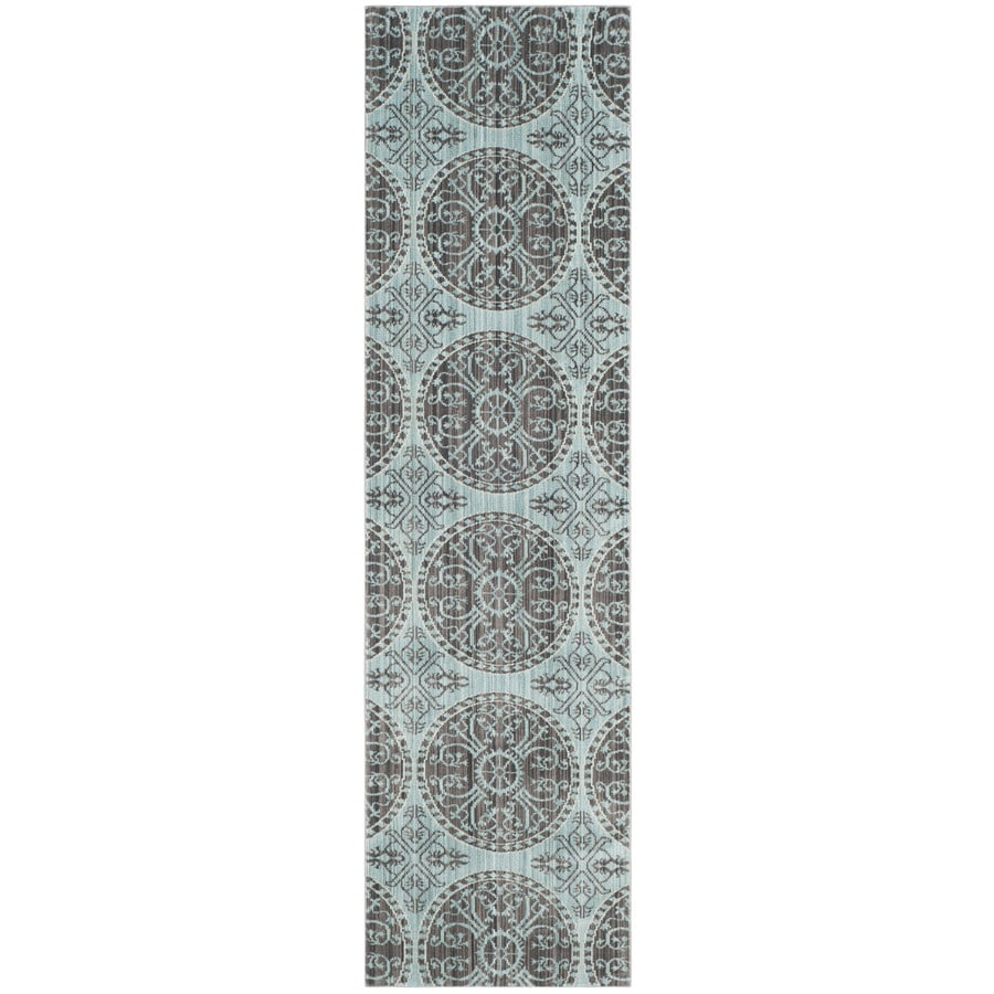 Safavieh Valencia Coby Brown/Alpine Indoor Distressed Runner (Common: 2 x 8; Actual: 2.25-ft W x 8-ft L)