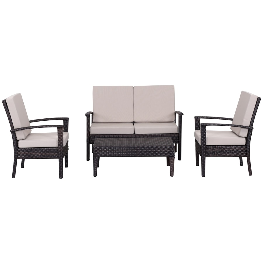 Safavieh Patio 4-Piece Plastic Patio Conversation Set