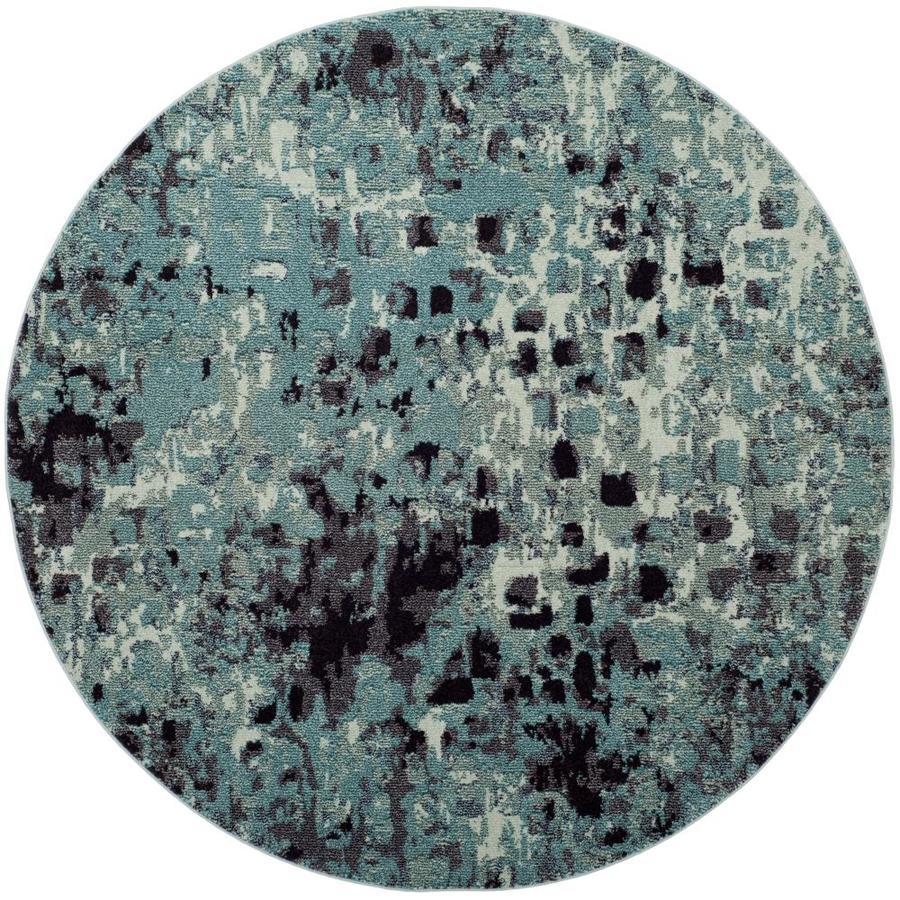 Safavieh Monaco Gogh Light Blue Round Indoor Area Rug (Common: 7 x 7; Actual: 6.7-ft W x 6.6-ft L x 6.6-ft dia)