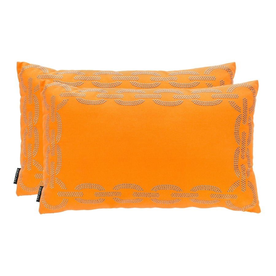 Safavieh Sibine 2-Piece 20-in W x 12-in L Orange Rectangular Indoor Decorative Pillow