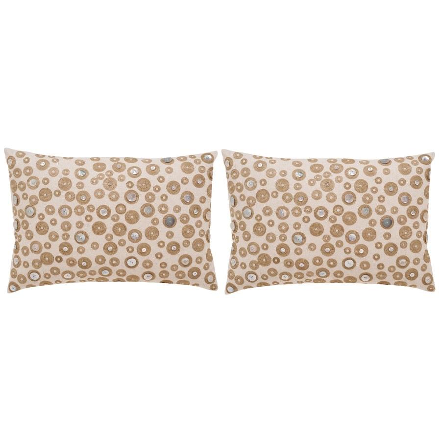 Safavieh Starlette 2-Piece 18-in W x 12-in L Creme Rectangular Indoor Decorative Pillow