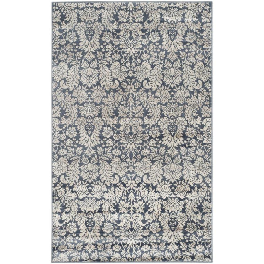 Safavieh Vintage Navy/Creme Rectangular Indoor Machine-Made Distressed Throw Rug (Common: 3 x 5; Actual: 3.25-ft W x 5.25-ft L)