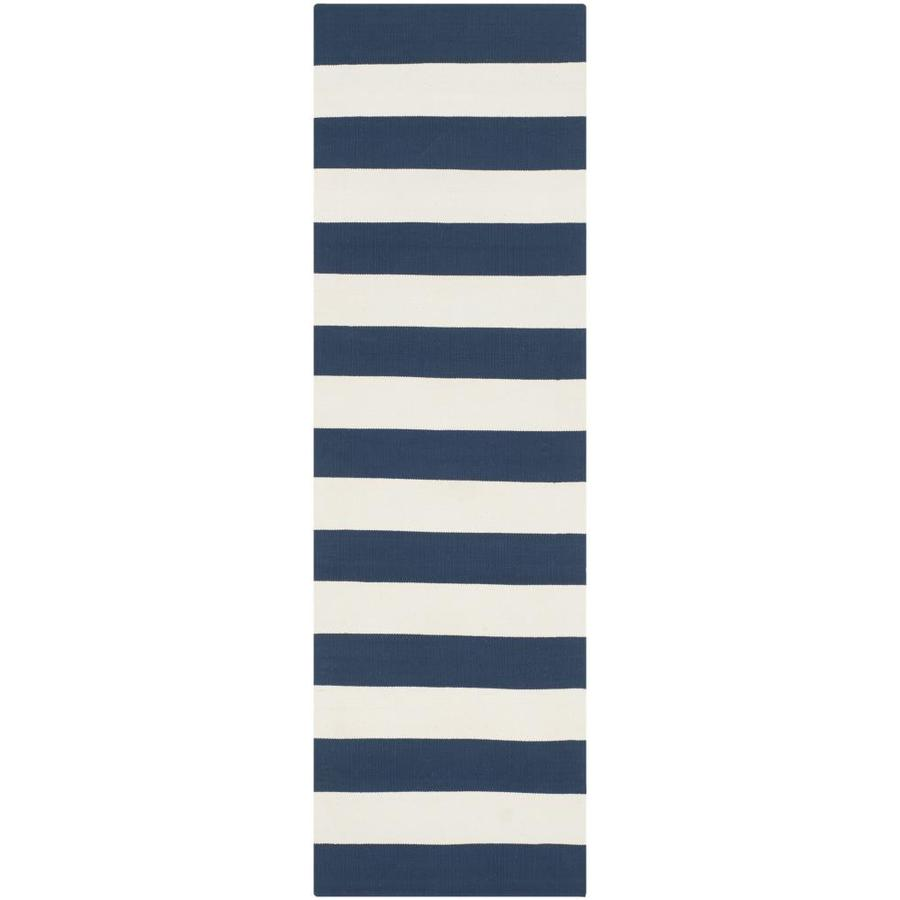 Safavieh Montauk Maslin Navy/Ivory Rectangular Indoor Handcrafted Coastal Runner (Common: 2 x 12; Actual: 2.3-ft W x 11.6-ft L)